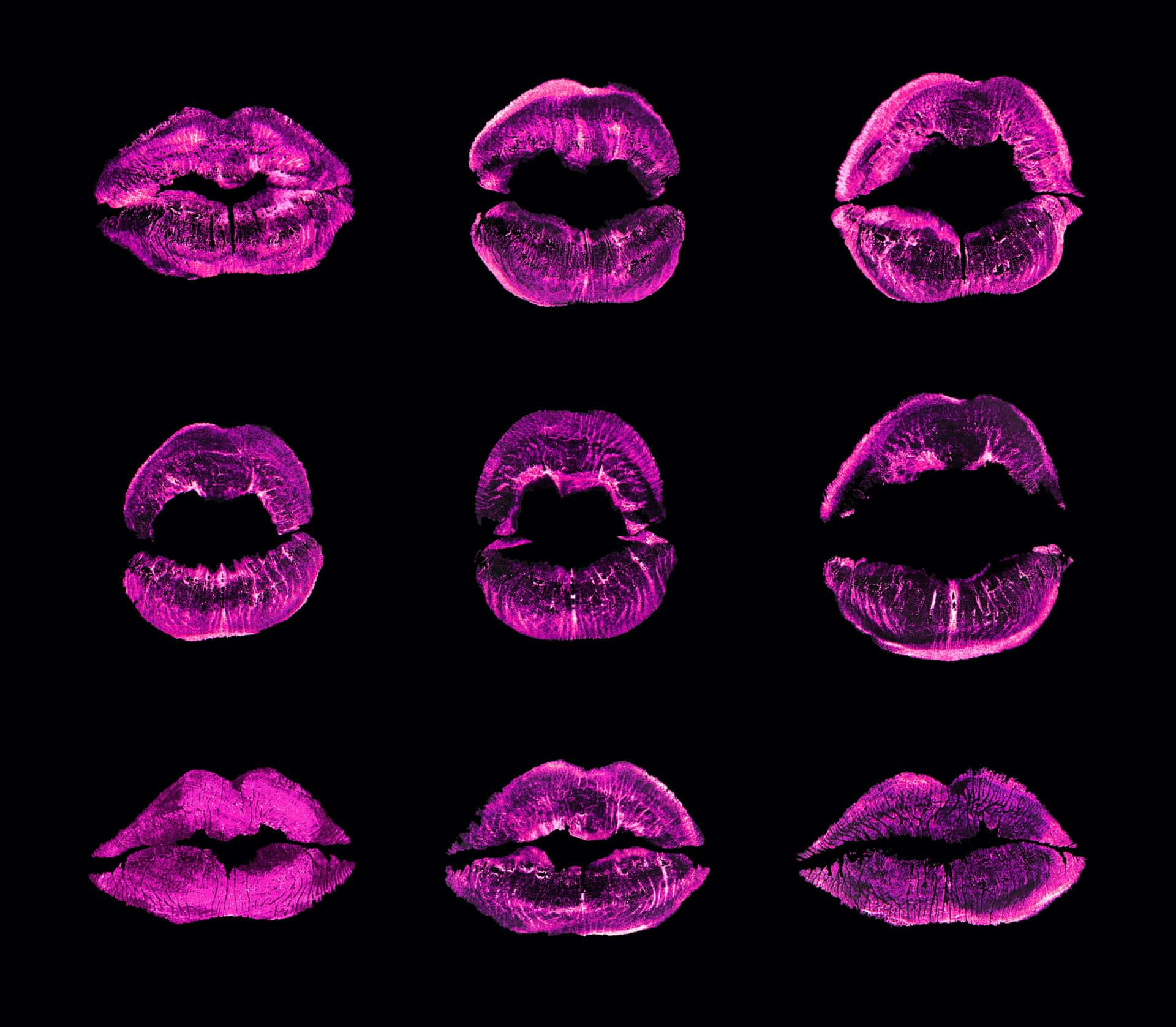 Pink lipstick kiss print set black background isolated closeup, neon purple sexy lips mark makeup collection, red female kisses imprint, beauty make up wallpaper, fashion banner, love & passion symbol
