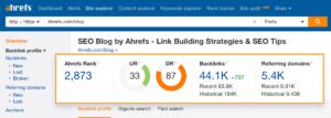 Screenshot of Ahref's Backlink Checker